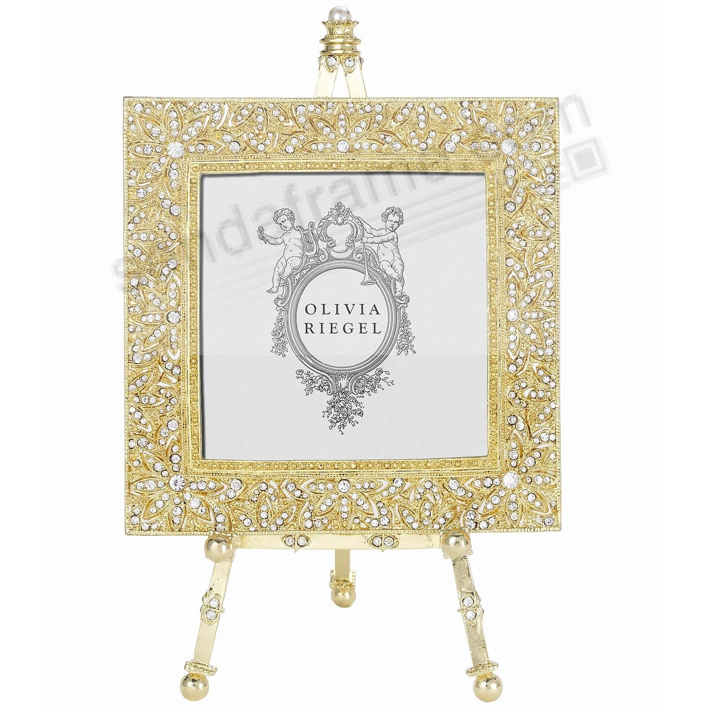 WINDSOR GOLD Austrian Crystal 4x4 w/Easel frame by Olivia Riegel