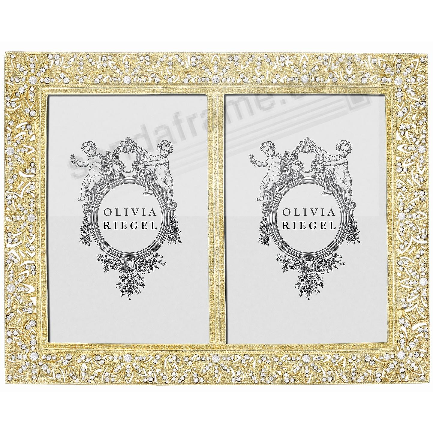 WINDSOR GOLD Austrian Crystal DOUBLE 4x6 frame by Olivia Riegel®