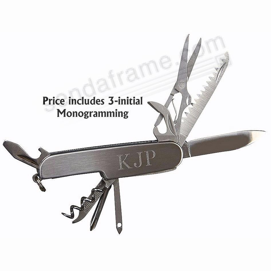 Stainless Steel Folding 9-Tool Pocket Knife - INCLUDES MONOGRAMMING