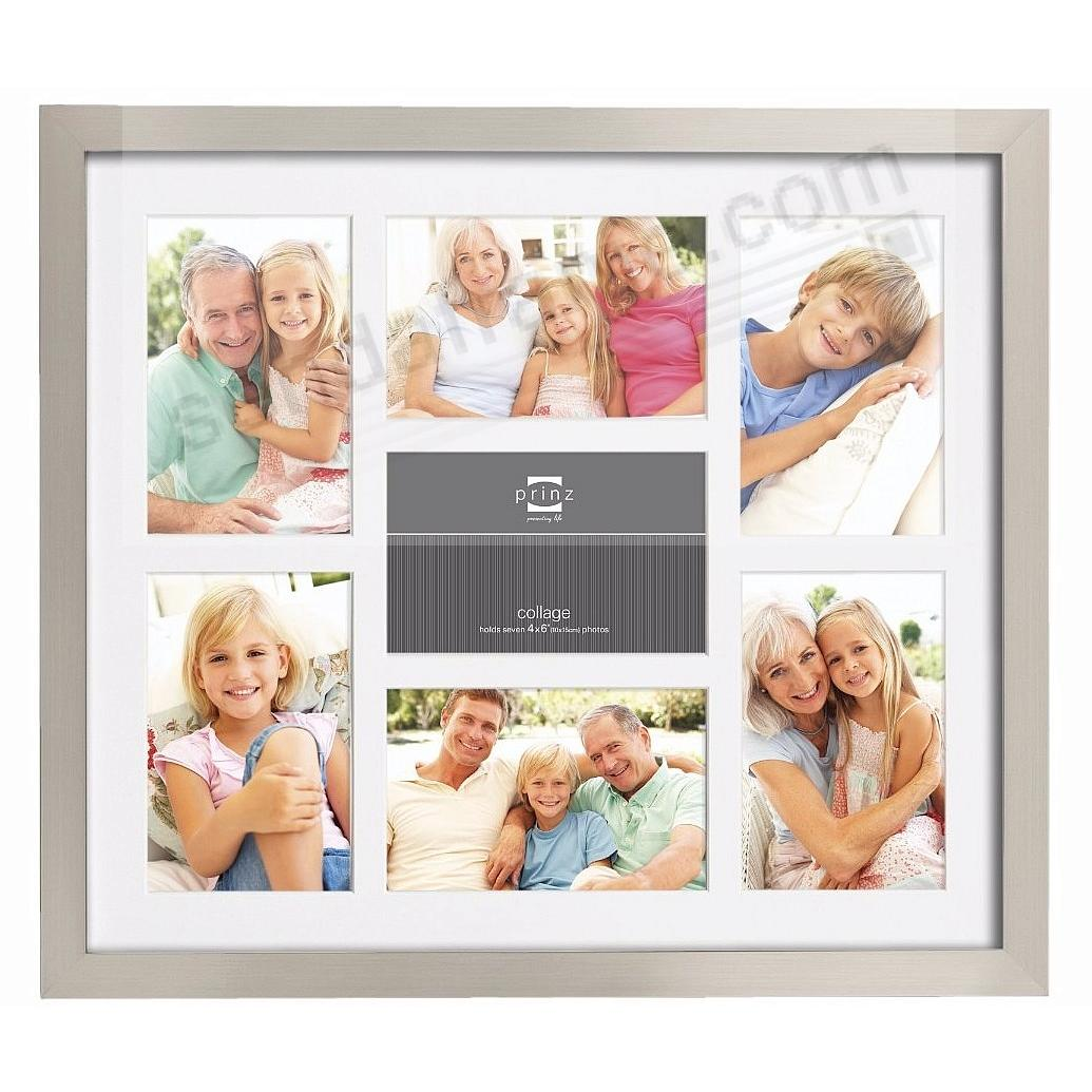Matted Nickel Finish collage frame for 7 - 4x6 prints by Prinz®