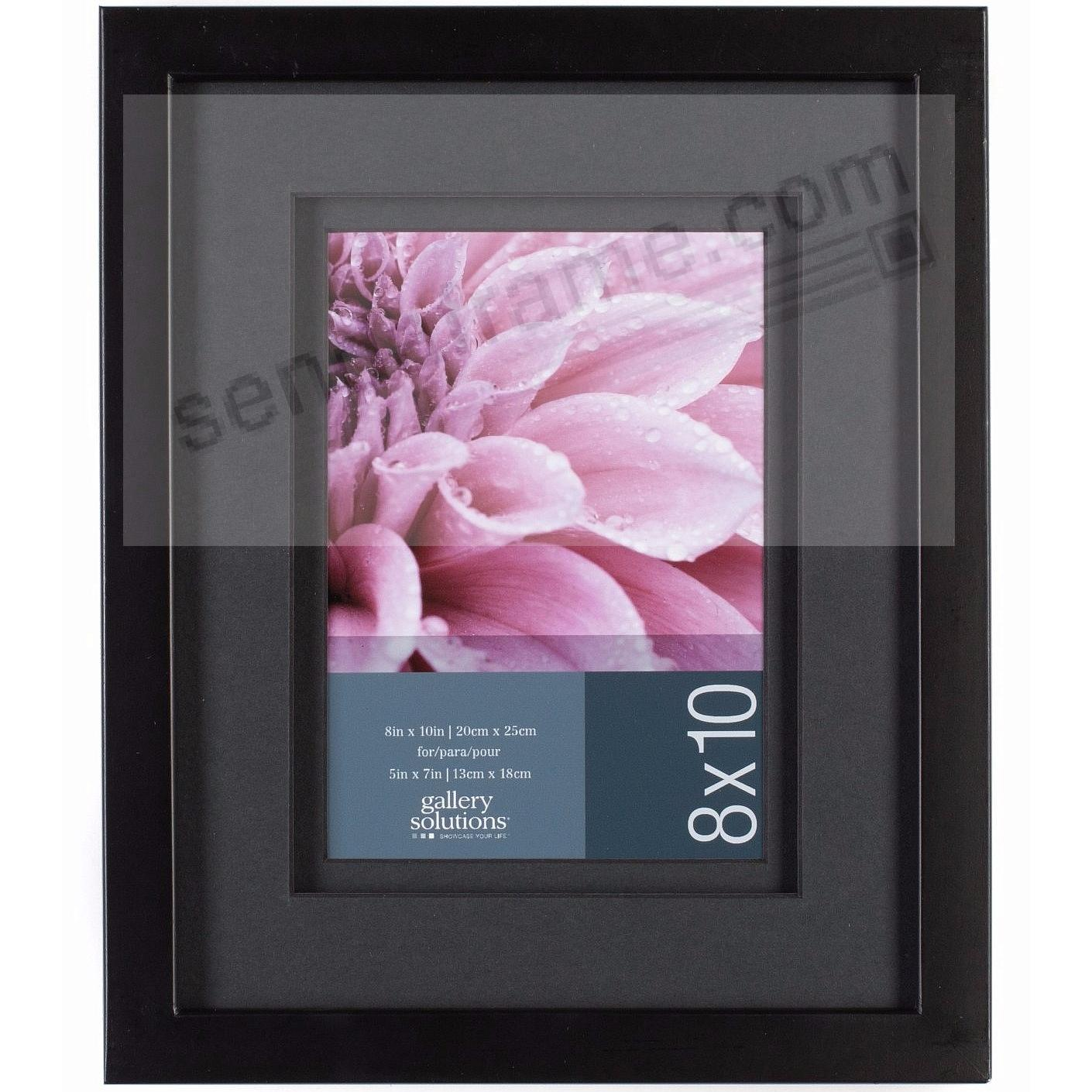 Black Wall Frame w/AirFloat Black Mat 8x10/5x7 by Gallery Solutions™