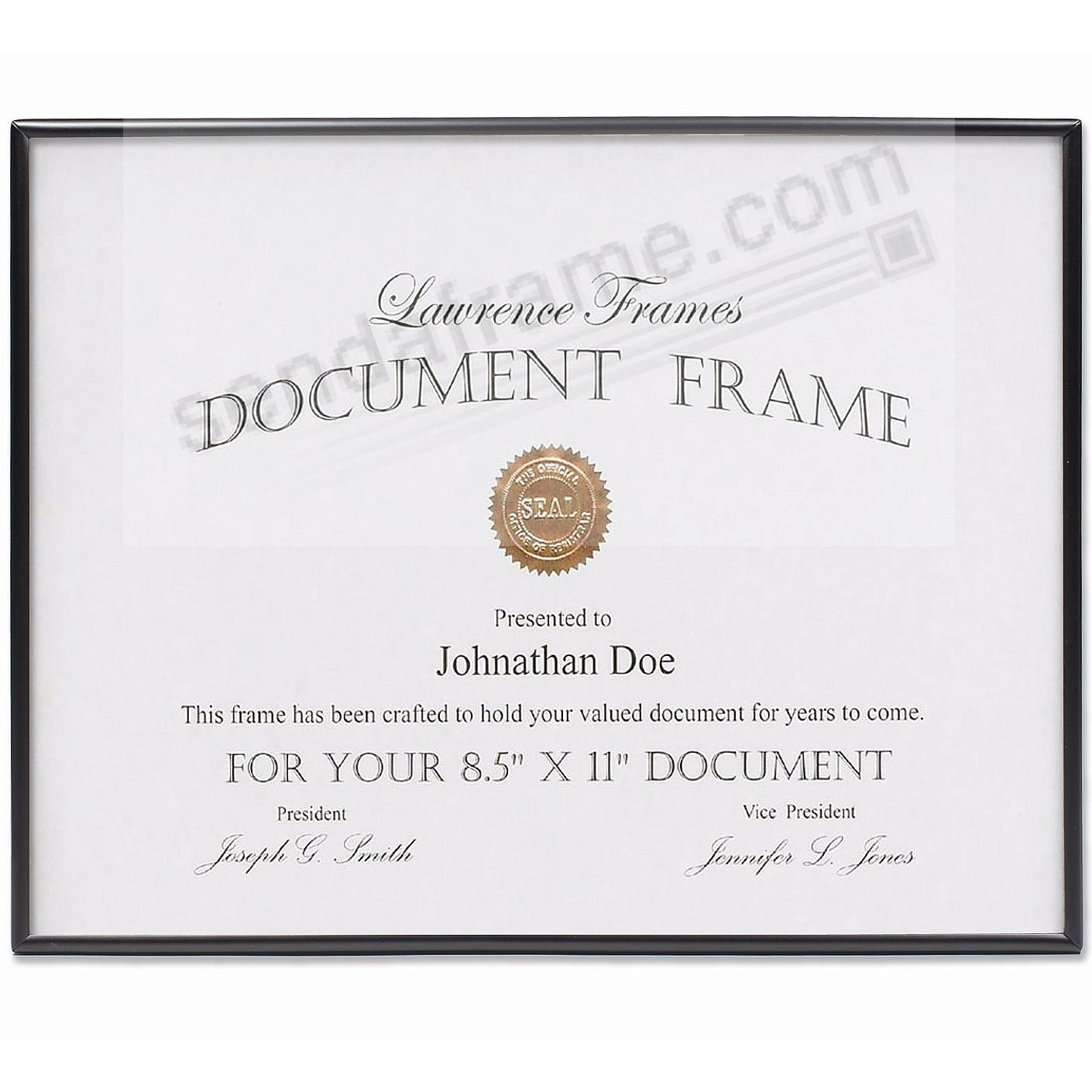 Matte SIMPLY BLACK Certificate size frame