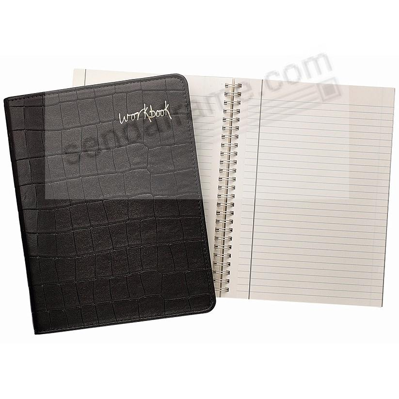 9in Wire-O-Notebook WORKBOOK Black Nappa Croco-Leather by Graphic Image™