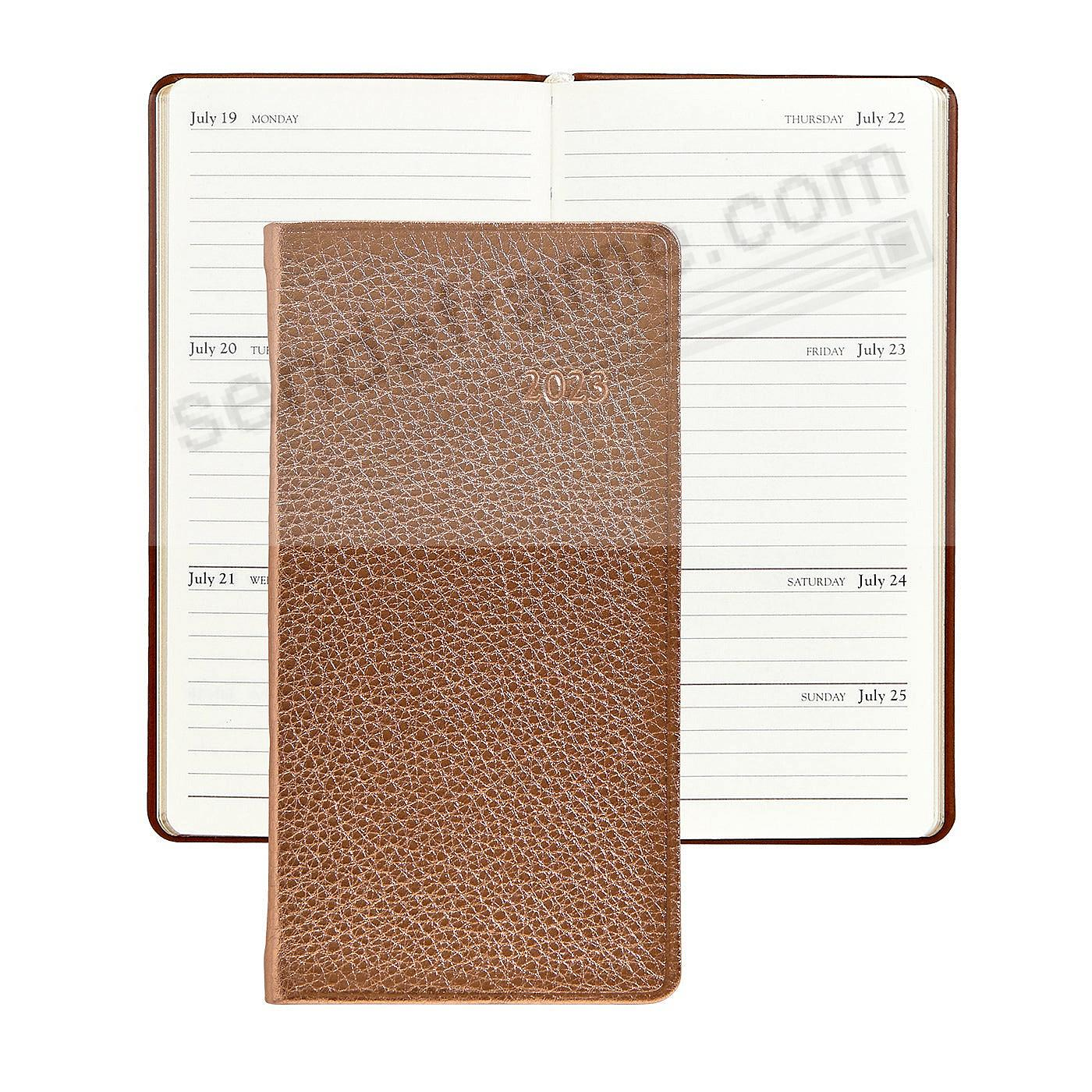 2018 METALLIC ROSE-GOLD 6inch Pocket Datebook Diary in Fine Leather by Graphic Image™