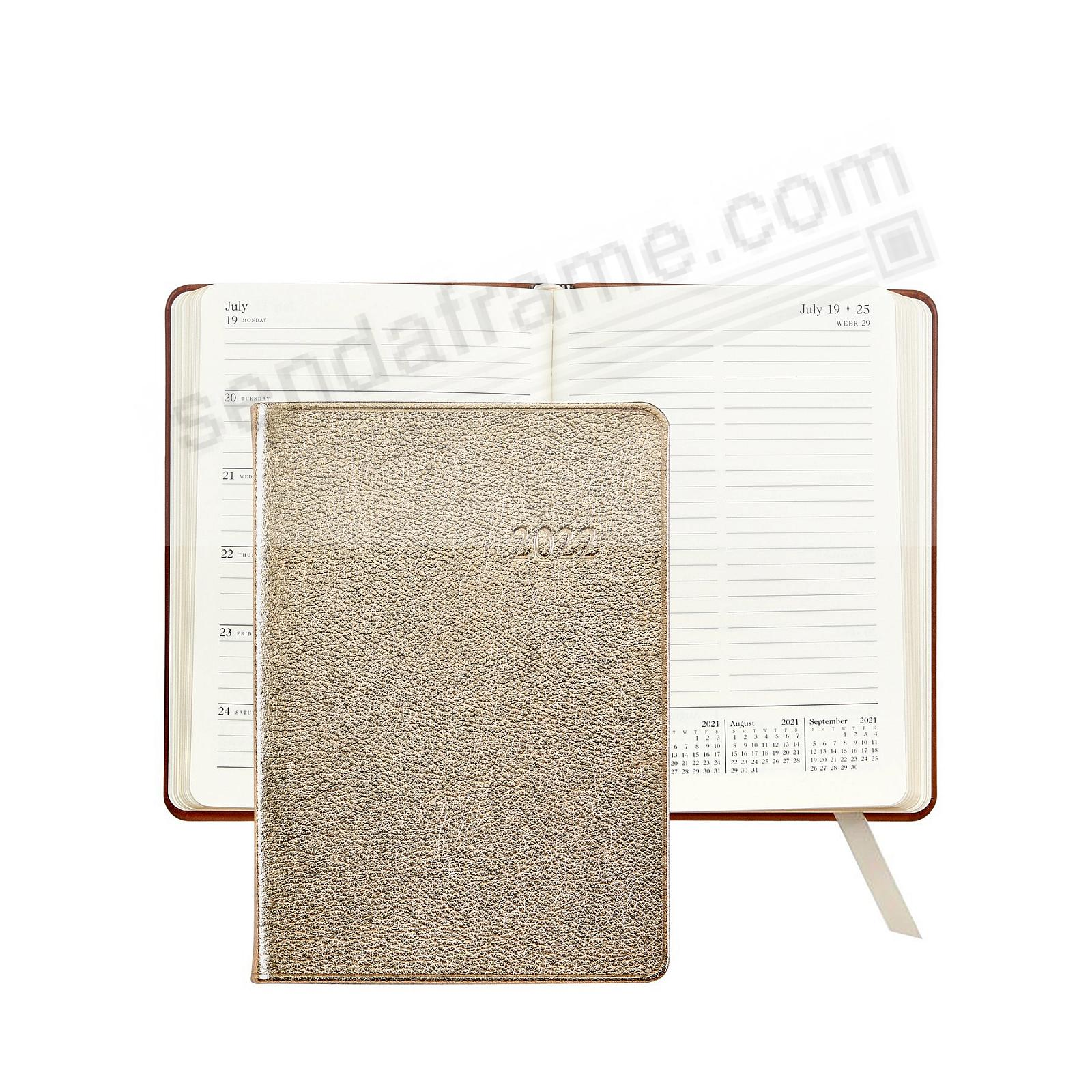 2021 Notebook Planner 7-in WHITE-GOLD METALLICS Fine Leather by Graphic Image™