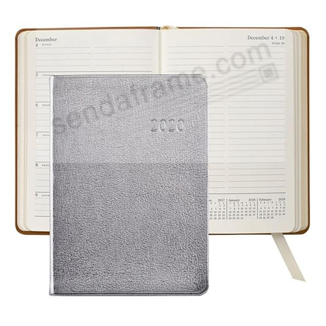 2018 Notebook Planner 7in SILVER METALLICS Fine Leather by Graphic Image™