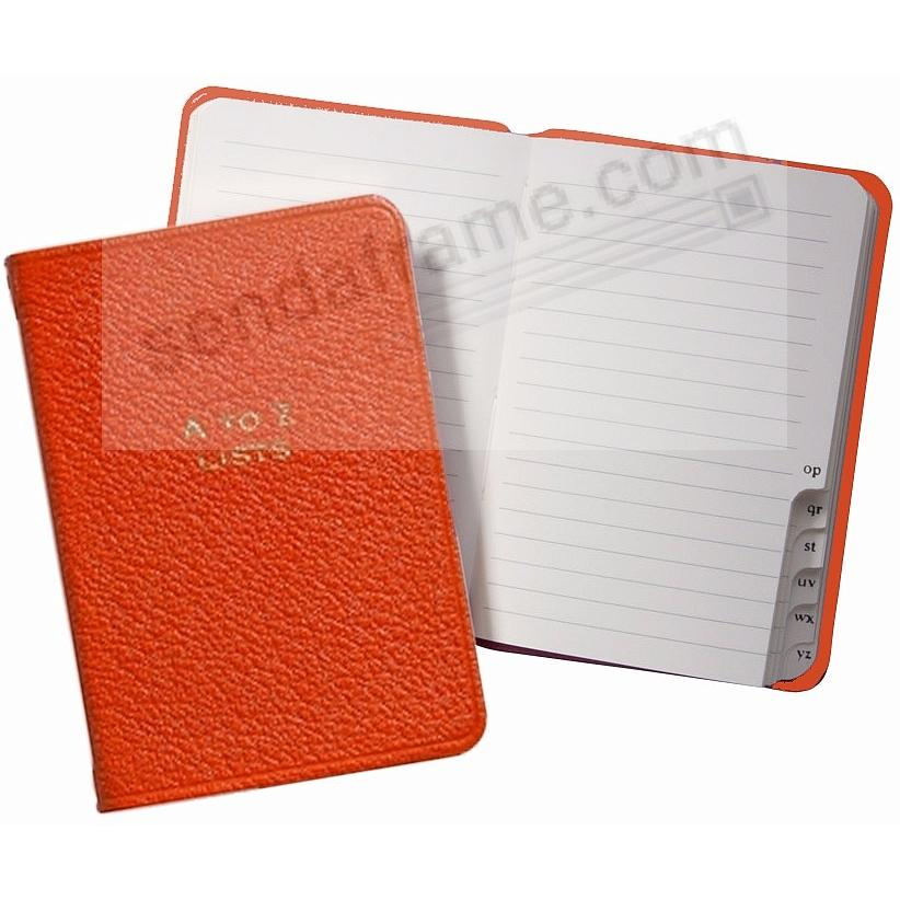 A-TO-Z LISTS Pocket Journal ORANGE Fine Leather by Graphic Image™