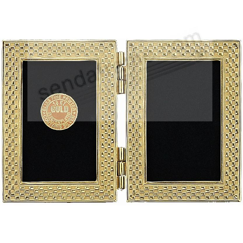 CHECKERBOARD luxe 18kt Gold Vermeil Over Fine Pewter Double 2x3 by Elias®