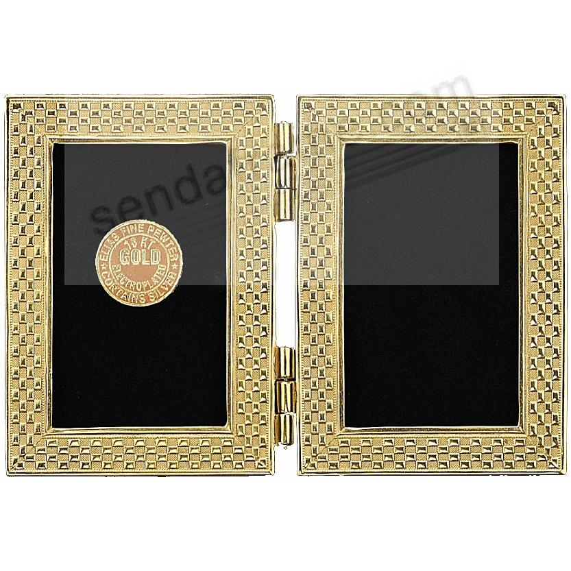 CHECKERBOARD luxe 18kt Gold Vermeil Over Fine Pewter Double 3x4 by Elias®
