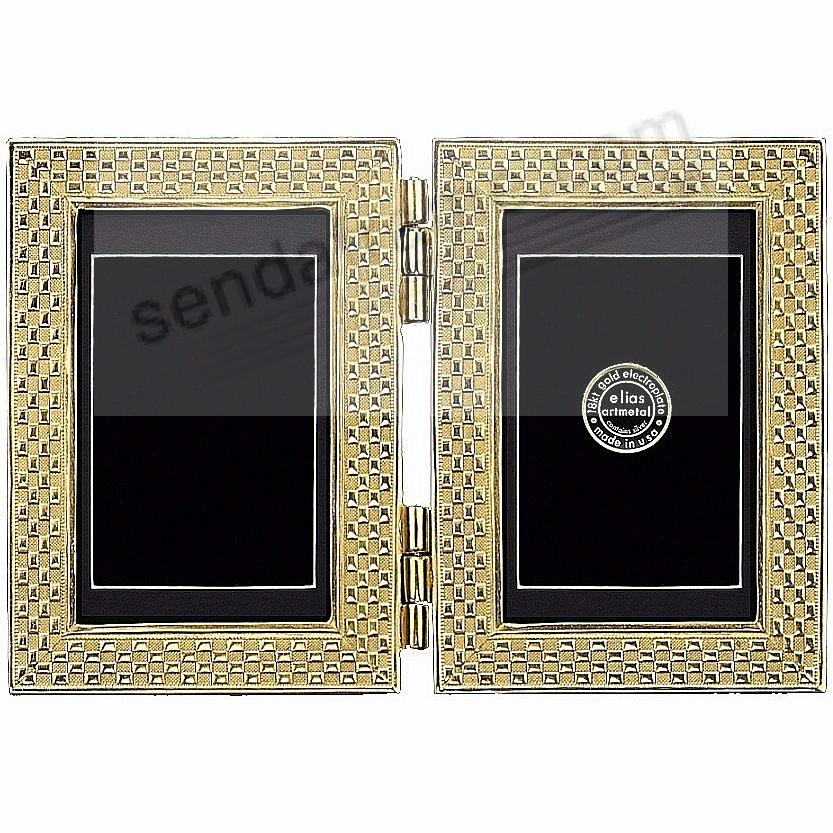 CHECKERBOARD luxe 18kt Gold Vermeil Over Fine Pewter Double 5x7/4x6 by Elias®