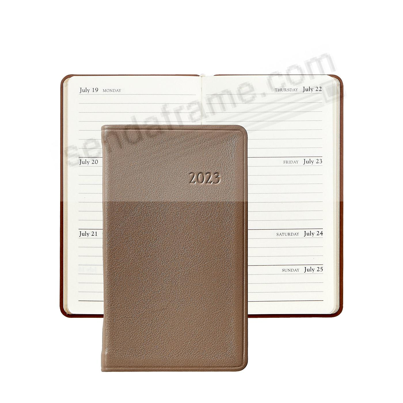 2018 TAUPE 5-in Pocket Datebook Diary in Fine Leather by Graphic Image™