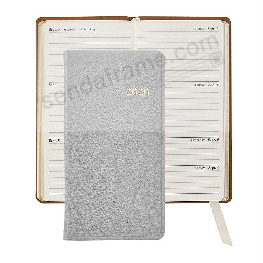2018 GRAY 6in Pocket Datebook Diary Goatskin Leather by Graphic Image™