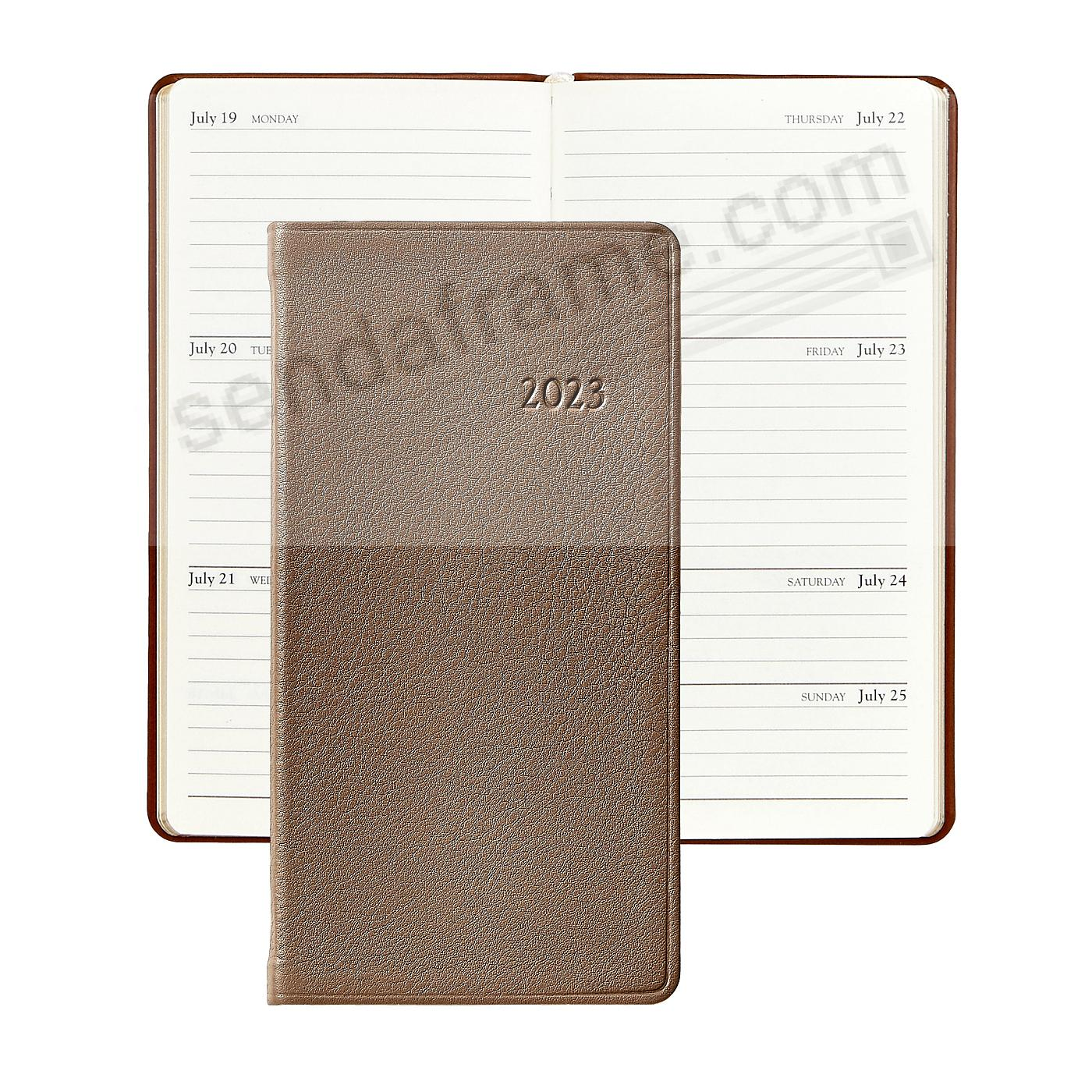 2017 TAUPE 6in Pocket Datebook Diary Goatskin Leather by Graphic Image™