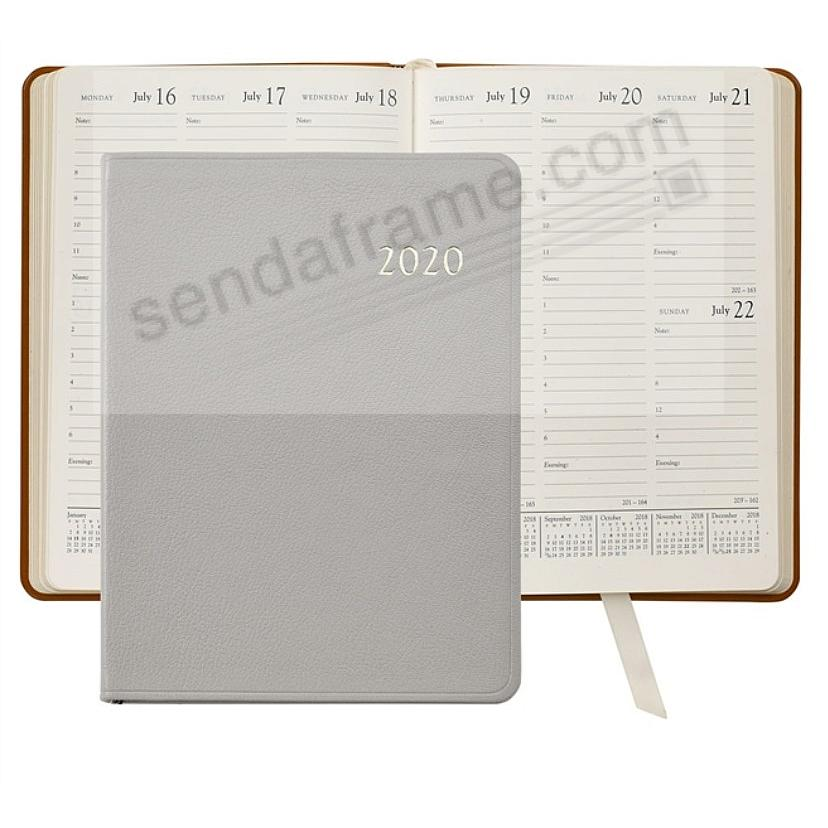 2020 GREY Goatskin Leather 9in Desk Diary by Graphic Image™