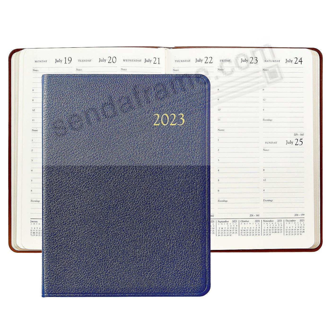 2020 INDIGO-BLUE Goatskin Leather 9in Desk Diary by Graphic Image™