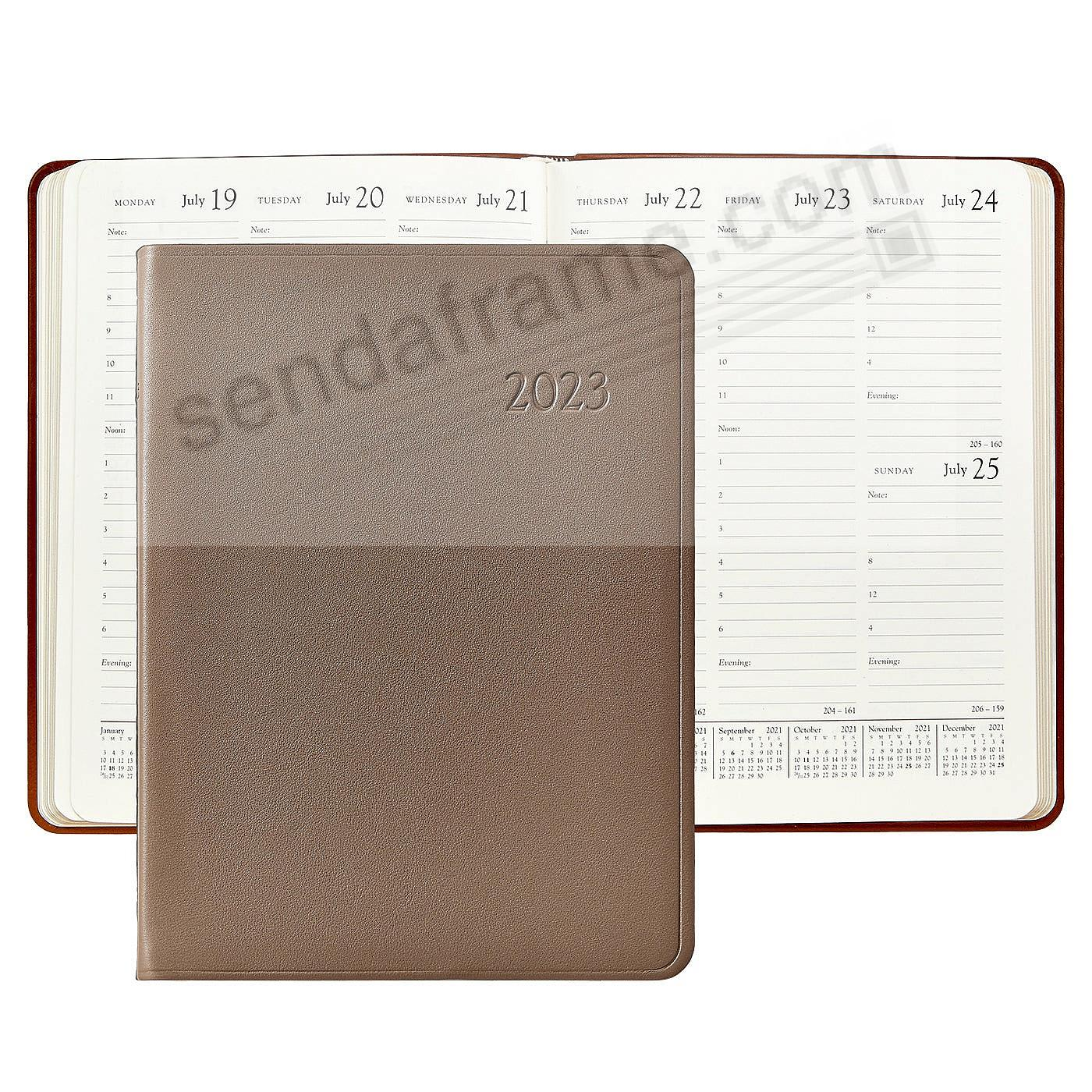2018 TAUPE Goatskin Leather 9in Desk Diary by Graphic Image™