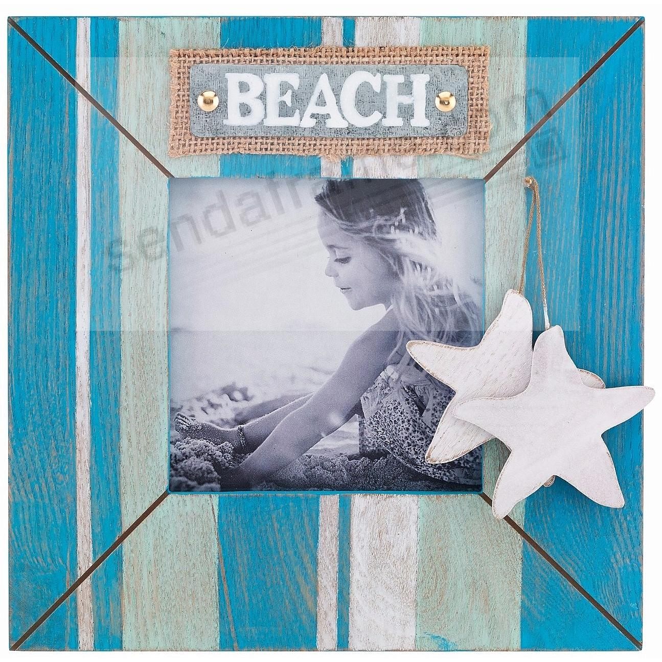 Weathered BLUE WAVE BEACH Picture 5x5 Frame by Lawrence®