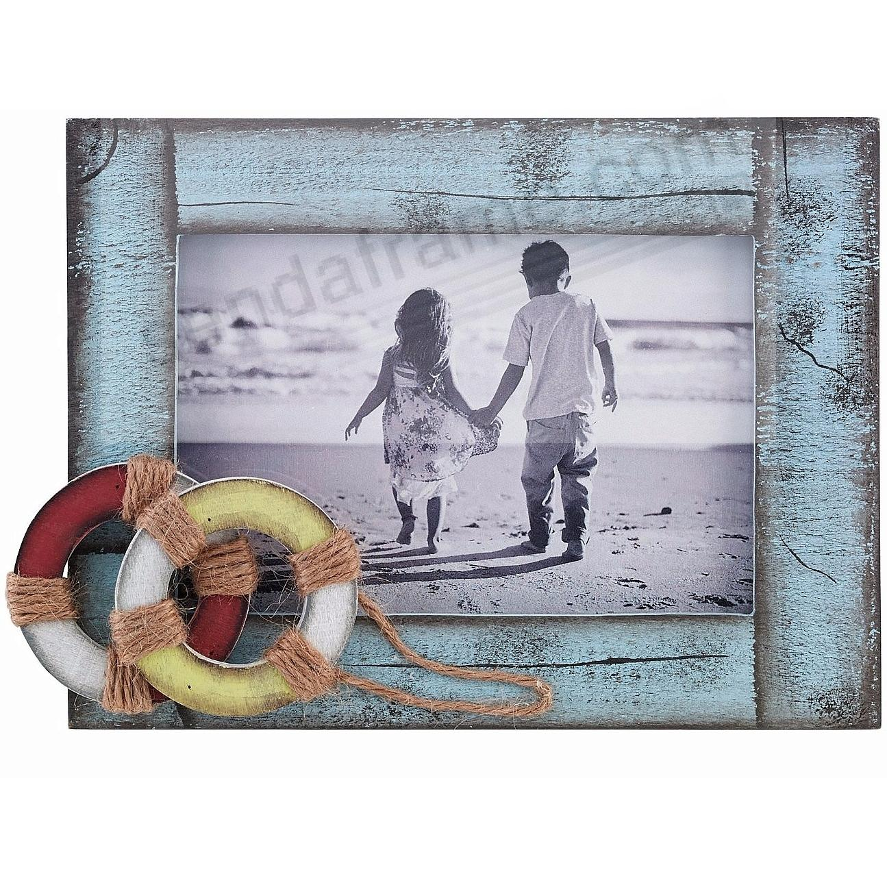 Weathered BLUE w/LIFE RINGS 6x4 Picture Frame by Lawrence®