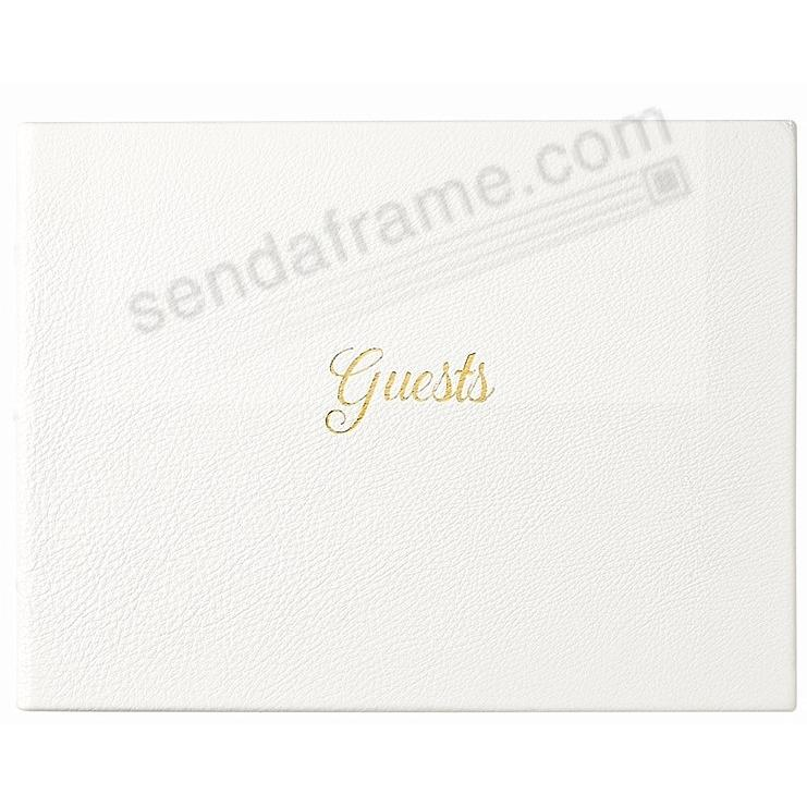 GUEST BOOK in Elegant Calfskin WHITE Leather for a lasting record by Graphic Image®