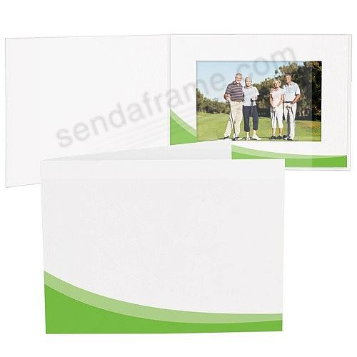GREEN SWOOSH White Cardboard Photo Folder for 7x5 prints