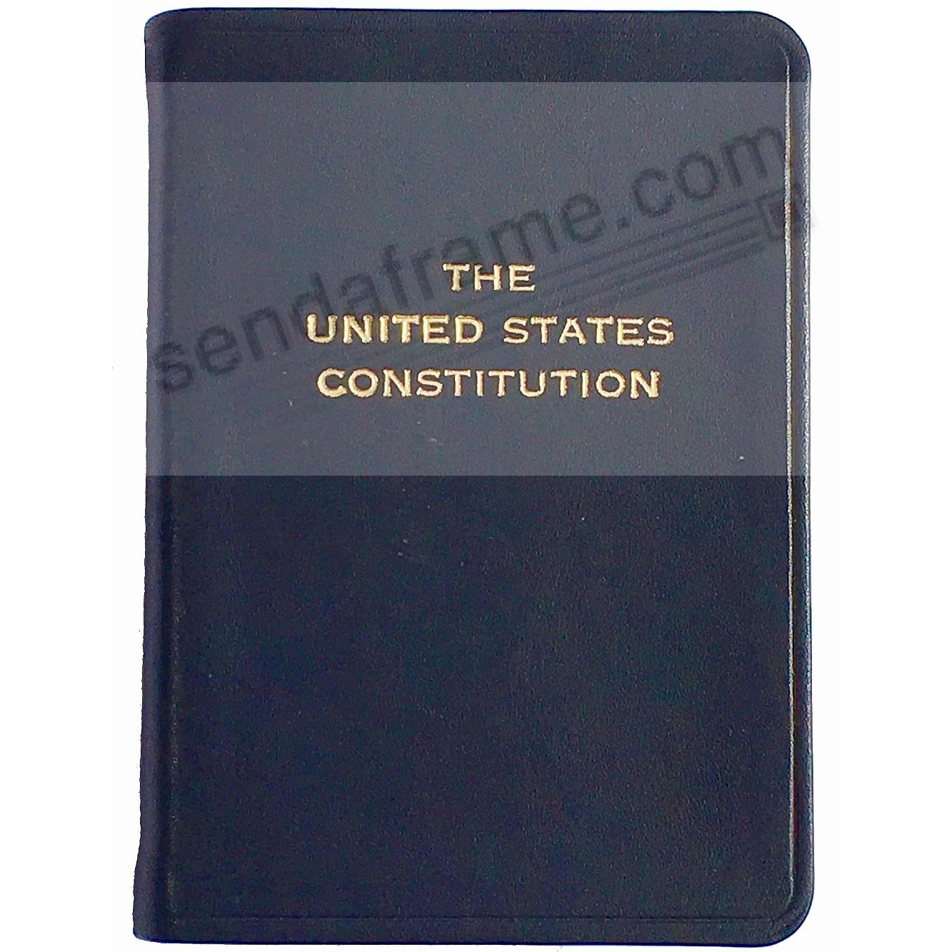 Palm-Size Constitution in Dark NAVY-BLUE Leather by Graphic Image™