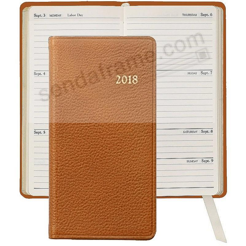 2017 BRIGHTS-TAN 6in Pocket Datebook Diary Fine Leather by Graphic Image™