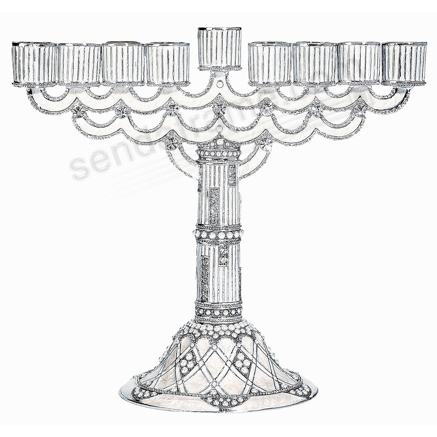 WHITE ENAMEL MENORAH by Olivia Riegel®