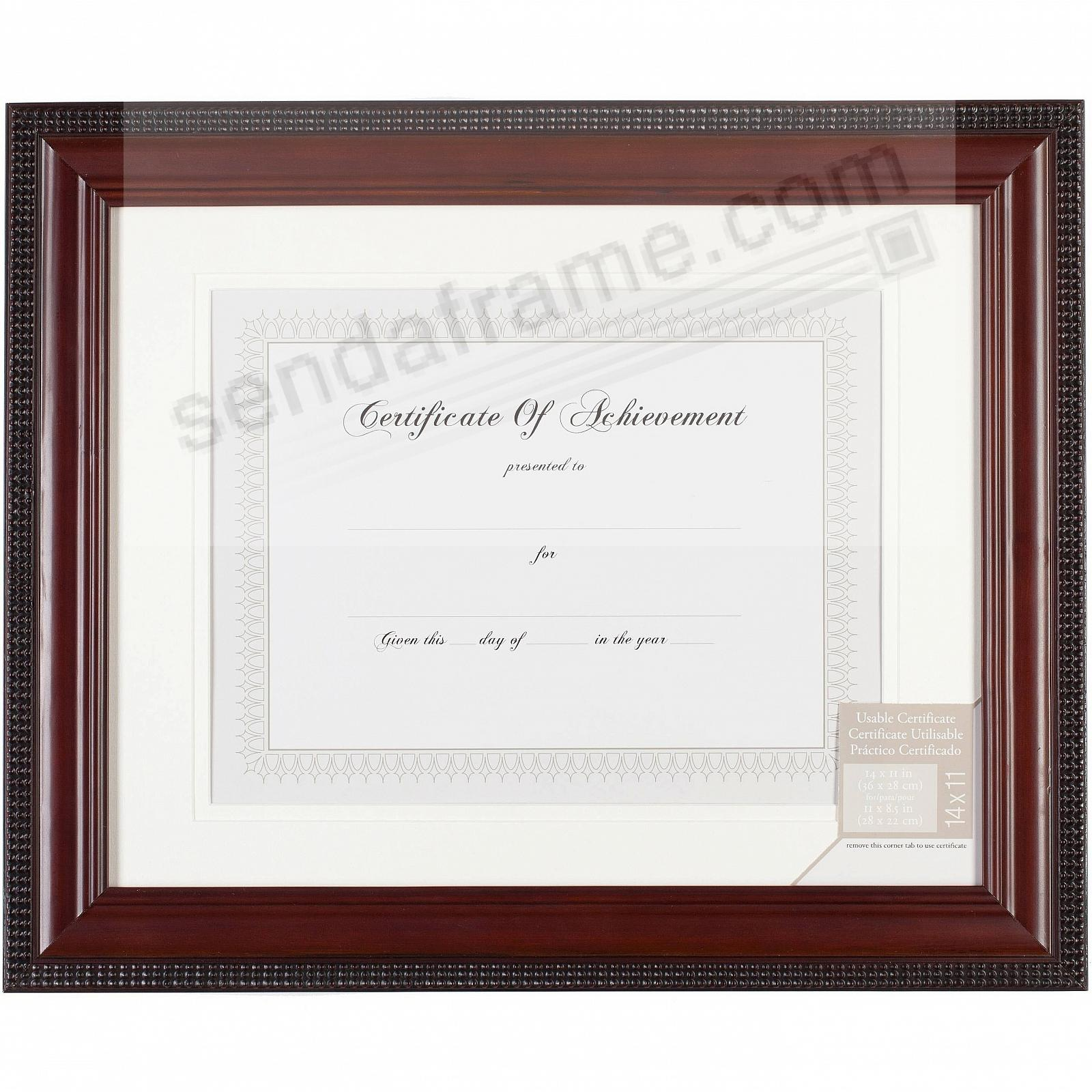 BEAD BORDER Mahogany finish matted 14x11 / 11x8½ certificate frame by Gallery Solutions®