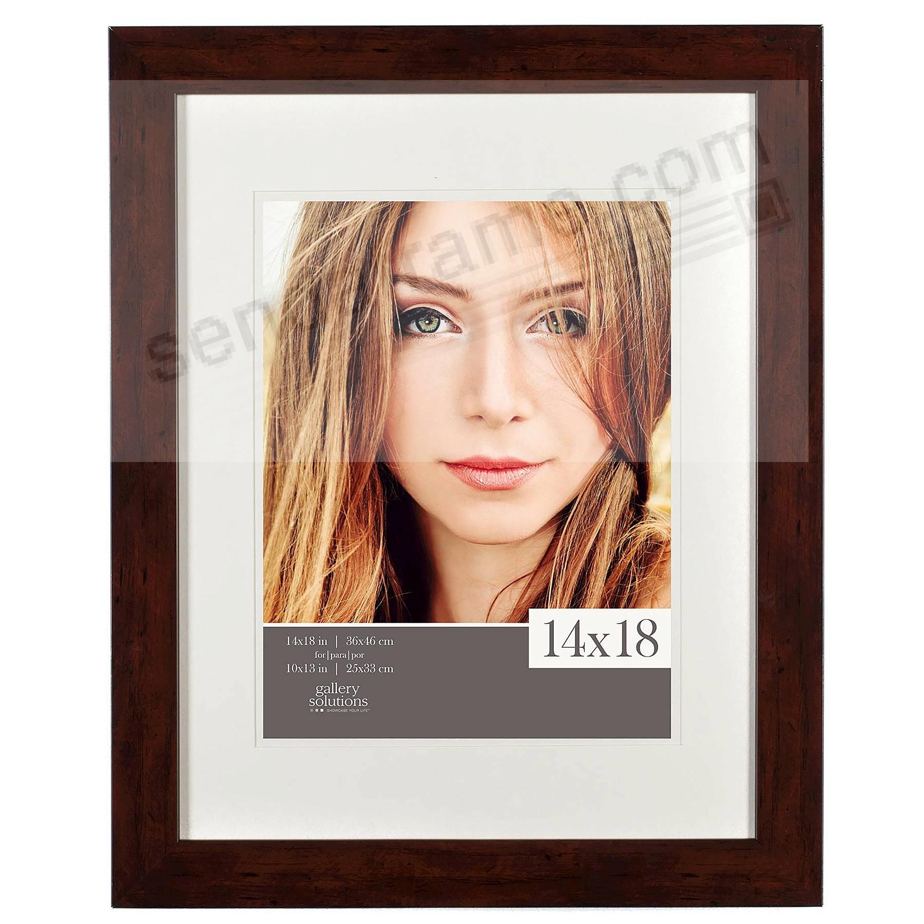 Walnut Wood Wall Frame matted 14x18/10x13 by Gallery Solutions™