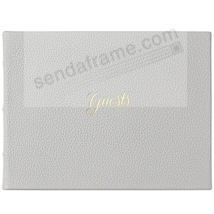GUEST BOOK in Elegant Calfskin LT GRAY Leather for a lasting record by Graphic Image®