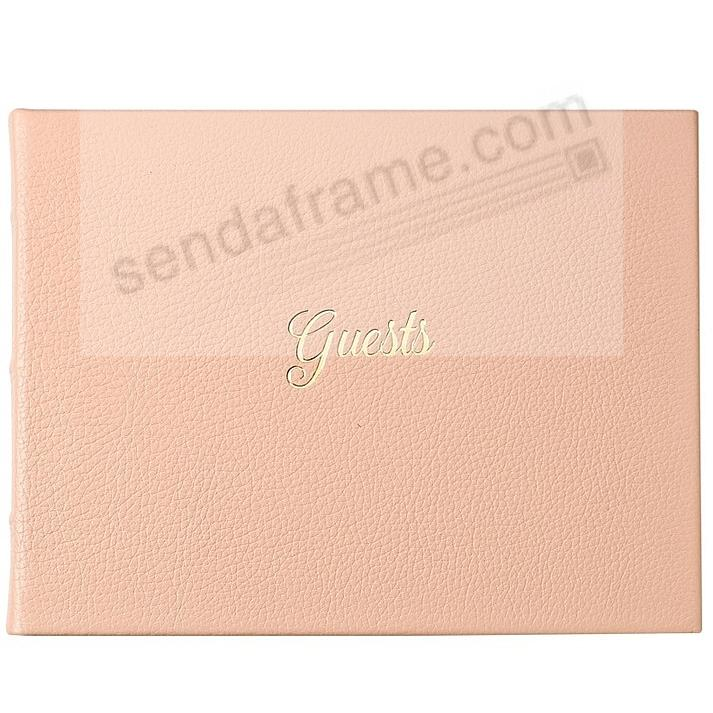 GUEST BOOK in Elegant Calfskin BLUSH Leather for a lasting record by Graphic Image®