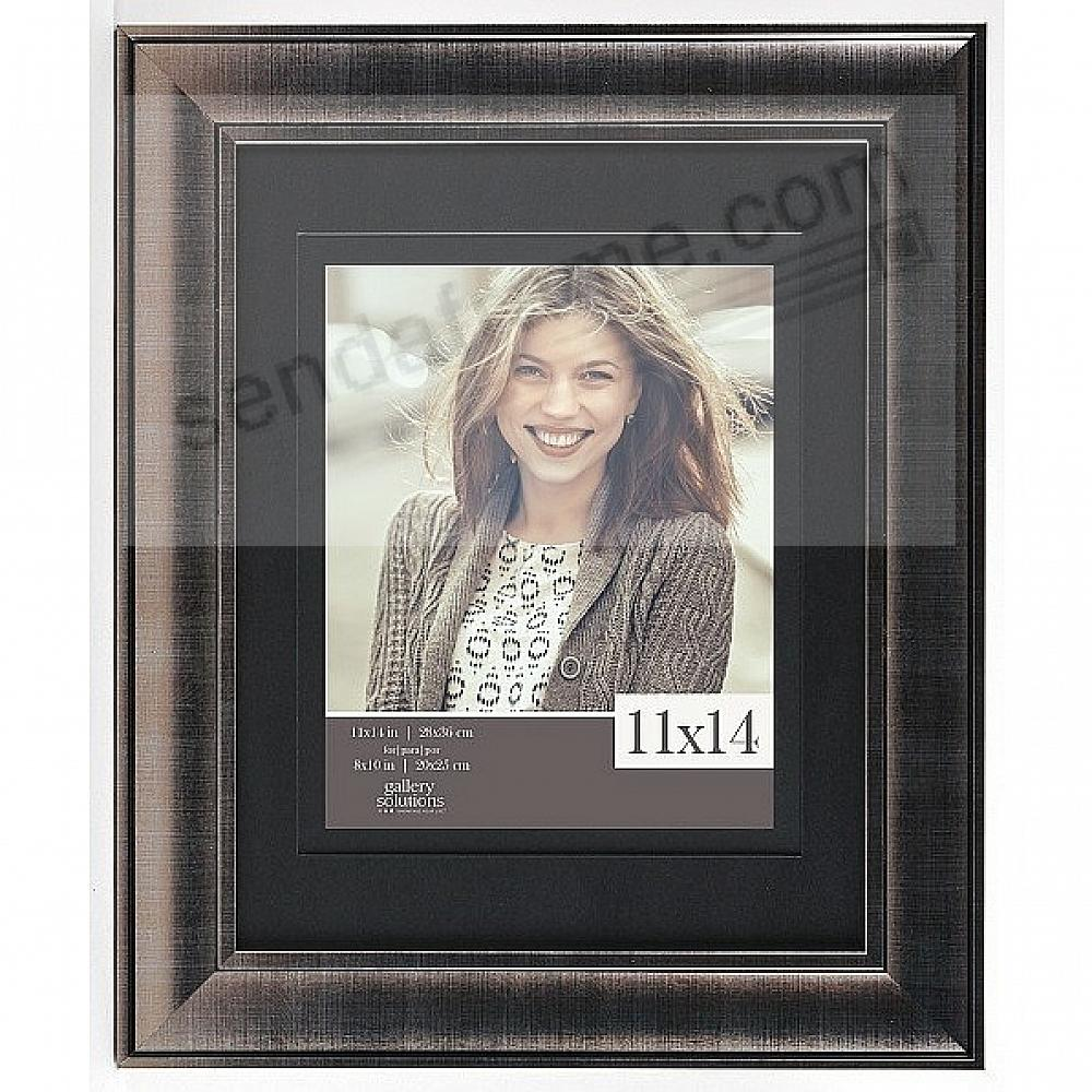 WIDE SILVER w/Black Mat 11x14/8x10 frame by Gallery Solutions®