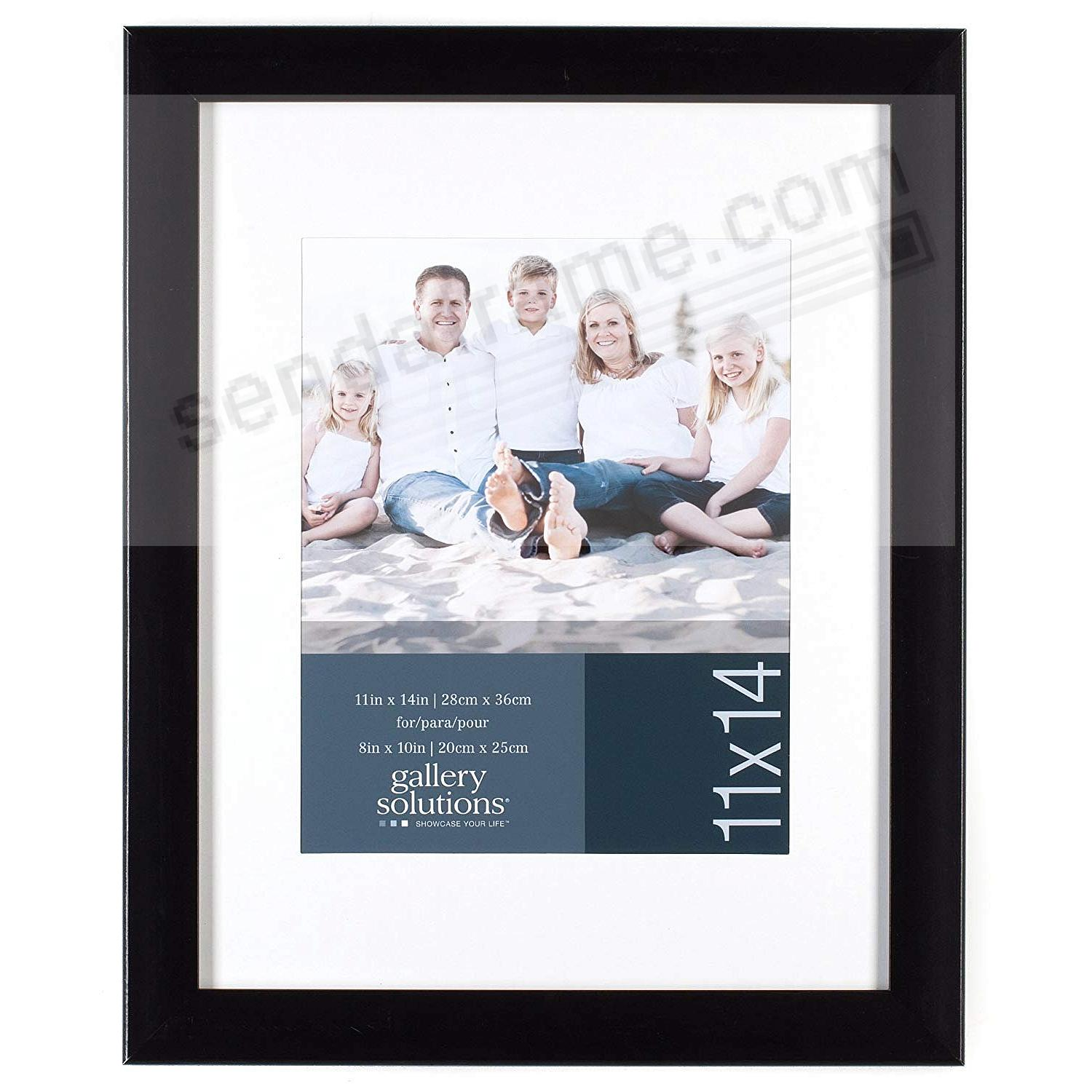 Glossy Black 11x14/8x10 matted frame by Gallery Solutions™