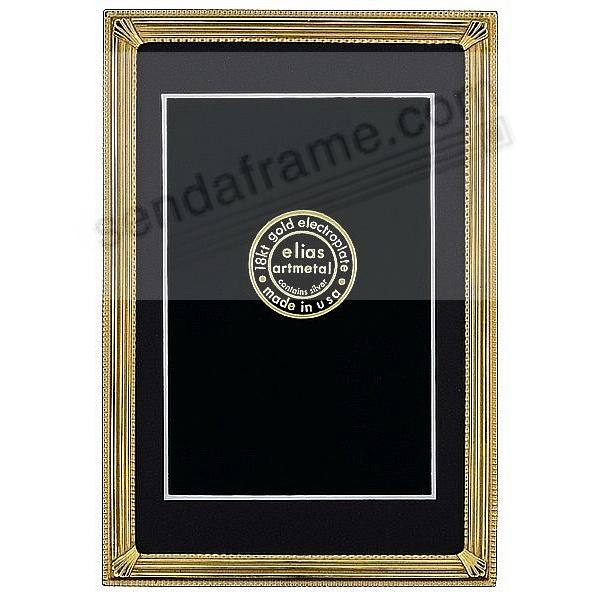 TRAX 18kt Museum Gold Vermeil over pewter 5x7/4x6 frame<br>by Elias Artmetal&reg;