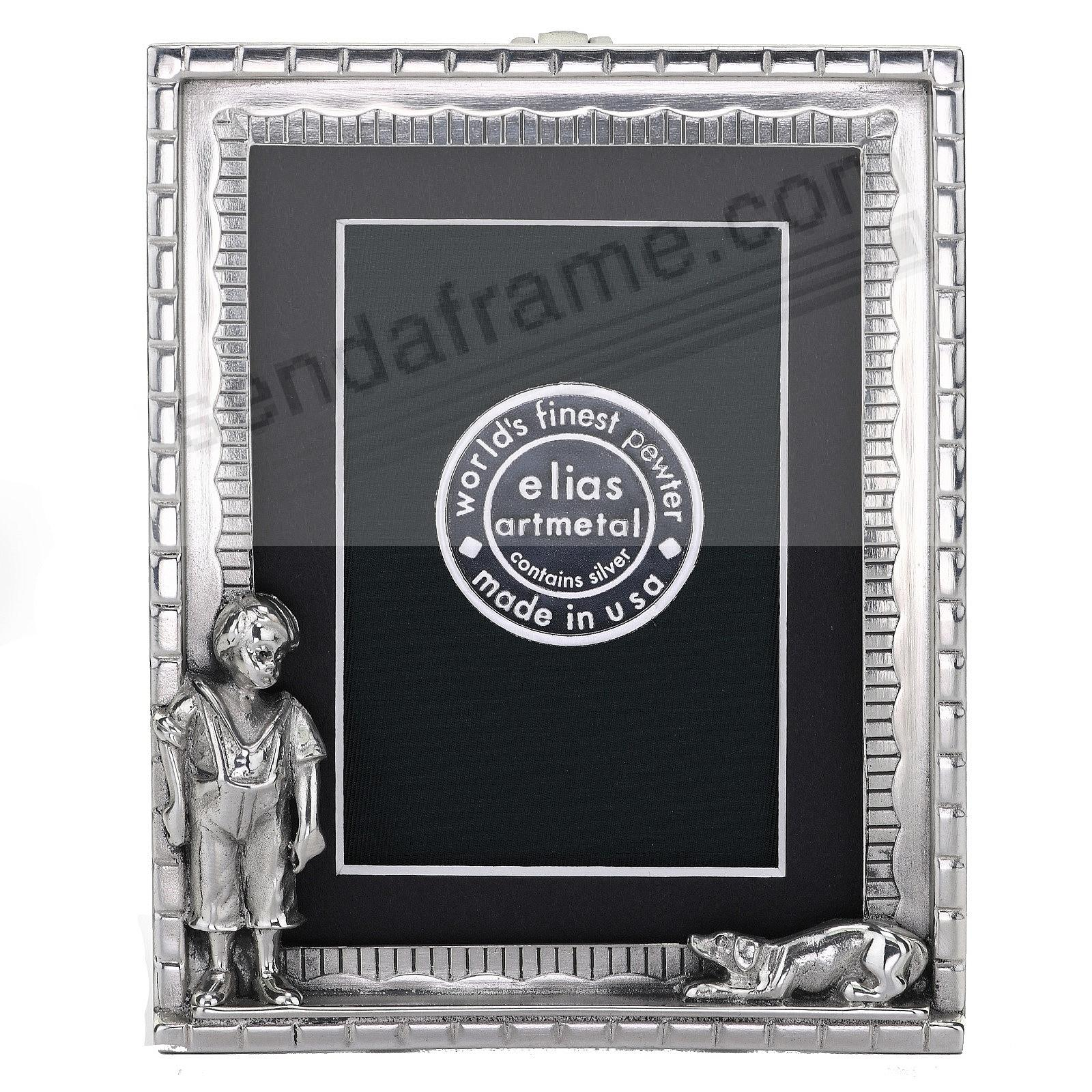 BOY AND DOG Fine Pewter 3x4 frame by Elias Artmetal®