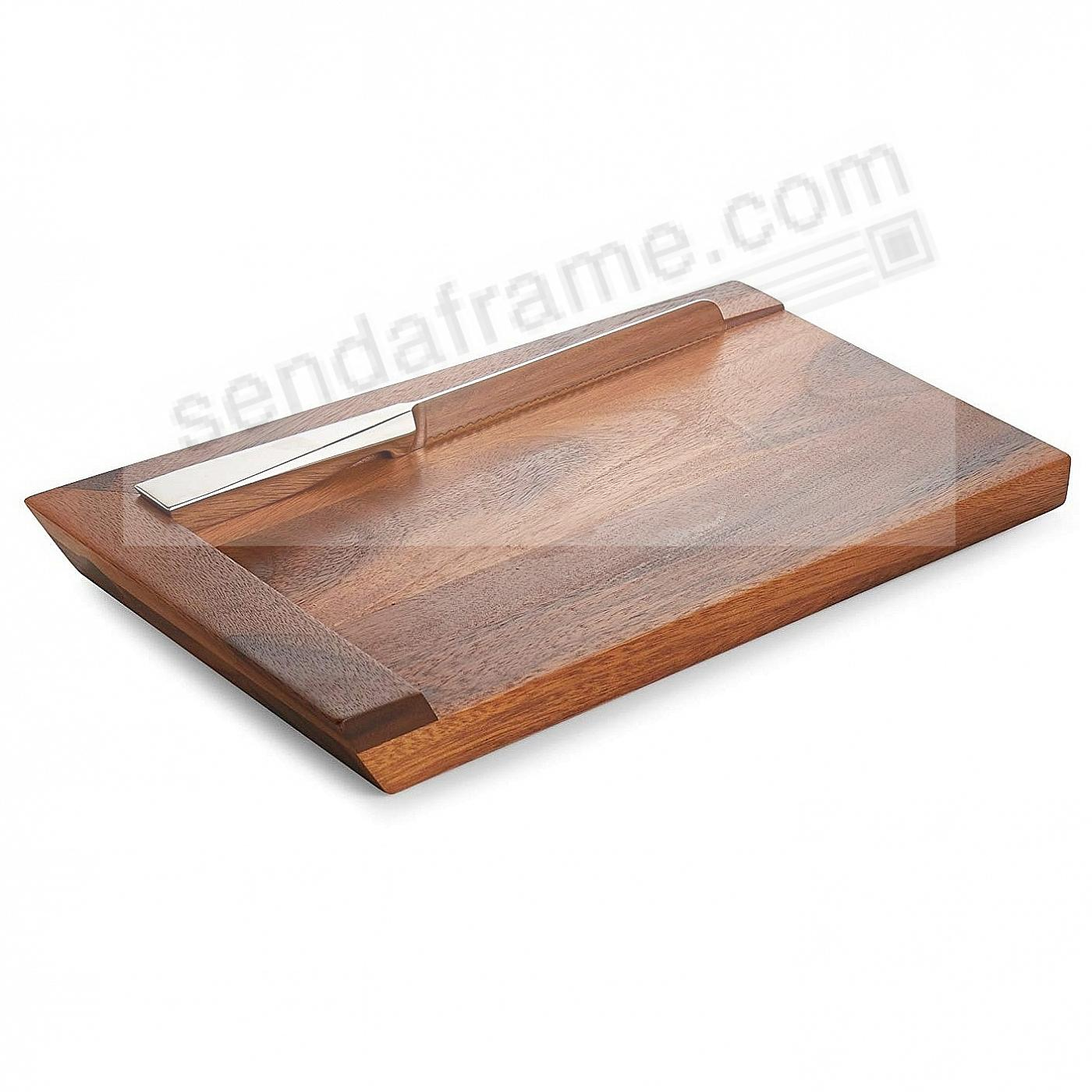 The GEO CHALLAH BREAD BOARD with Knife - Wood/Stainless Steel by Nambe®