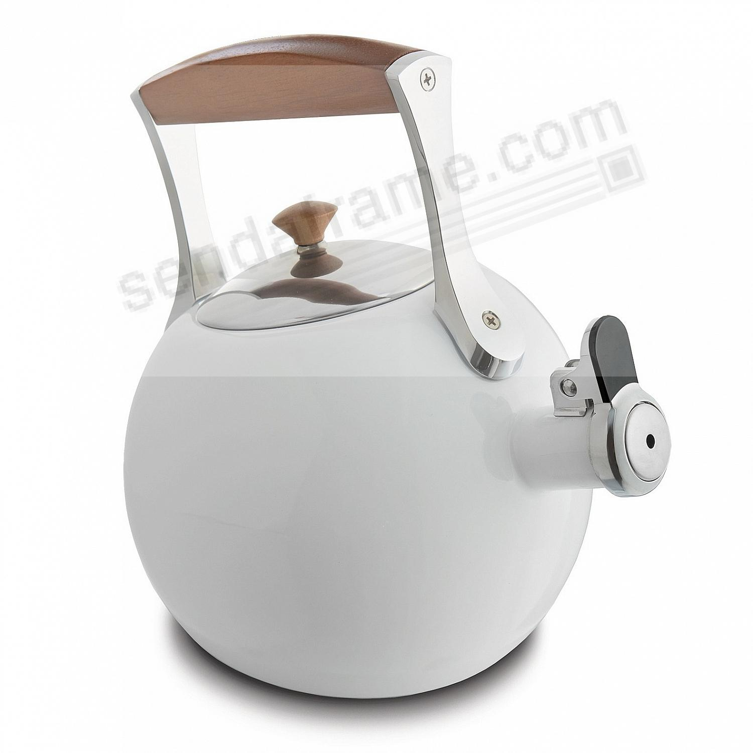 The Original MERIDIAN WHISTLING TEA KETTLE - WHITE - crafted by Nambe®