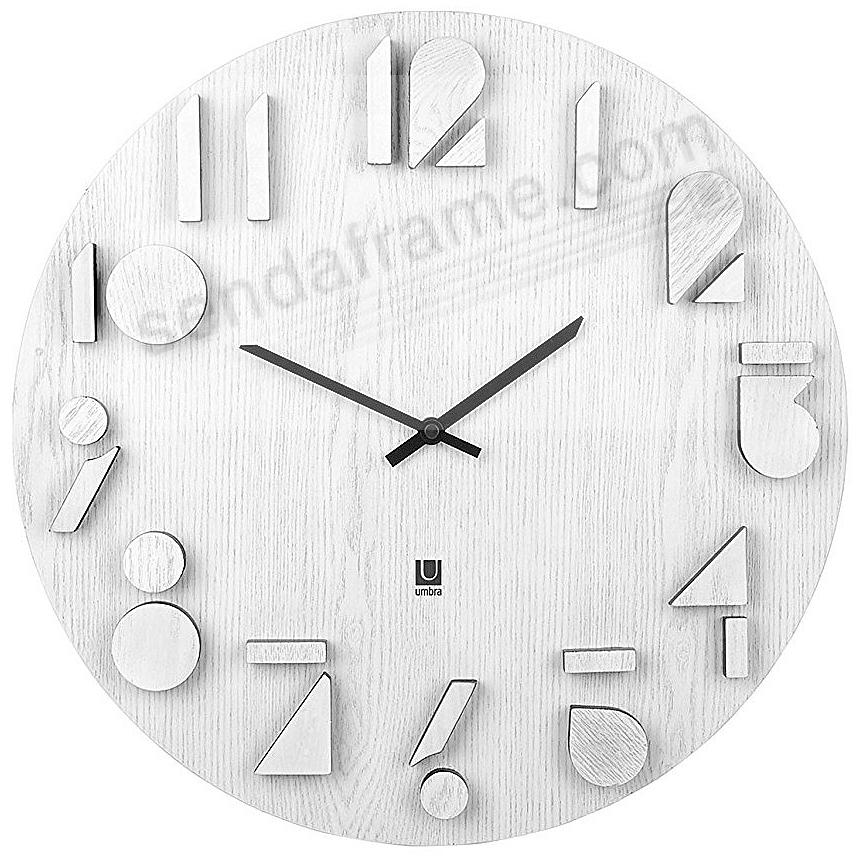 The original SHADOW WALL CLOCK in WHITE Wood by Umbra®