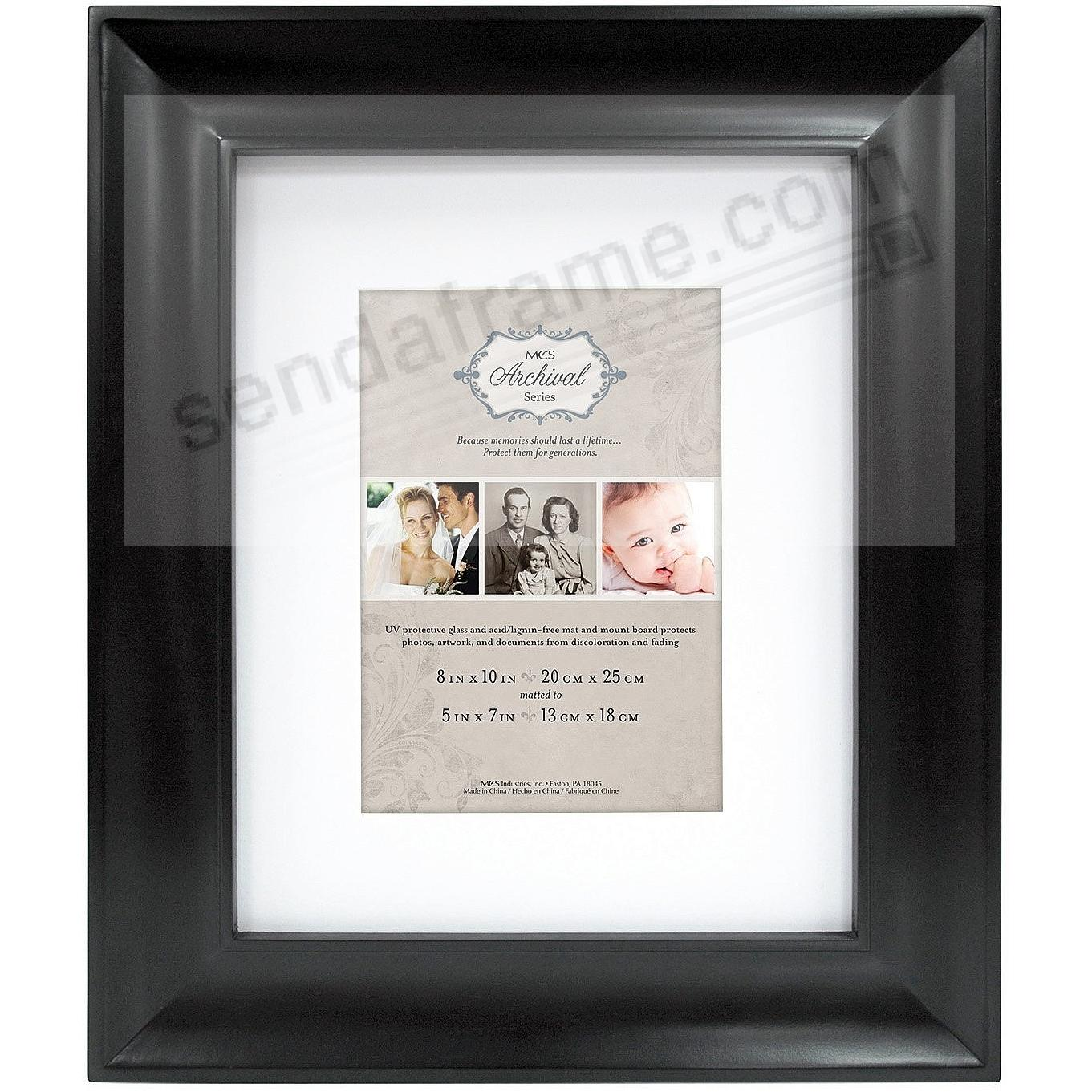 Black ARCHIVAL Matted Wood frame 8x10/5x7 by MCS®