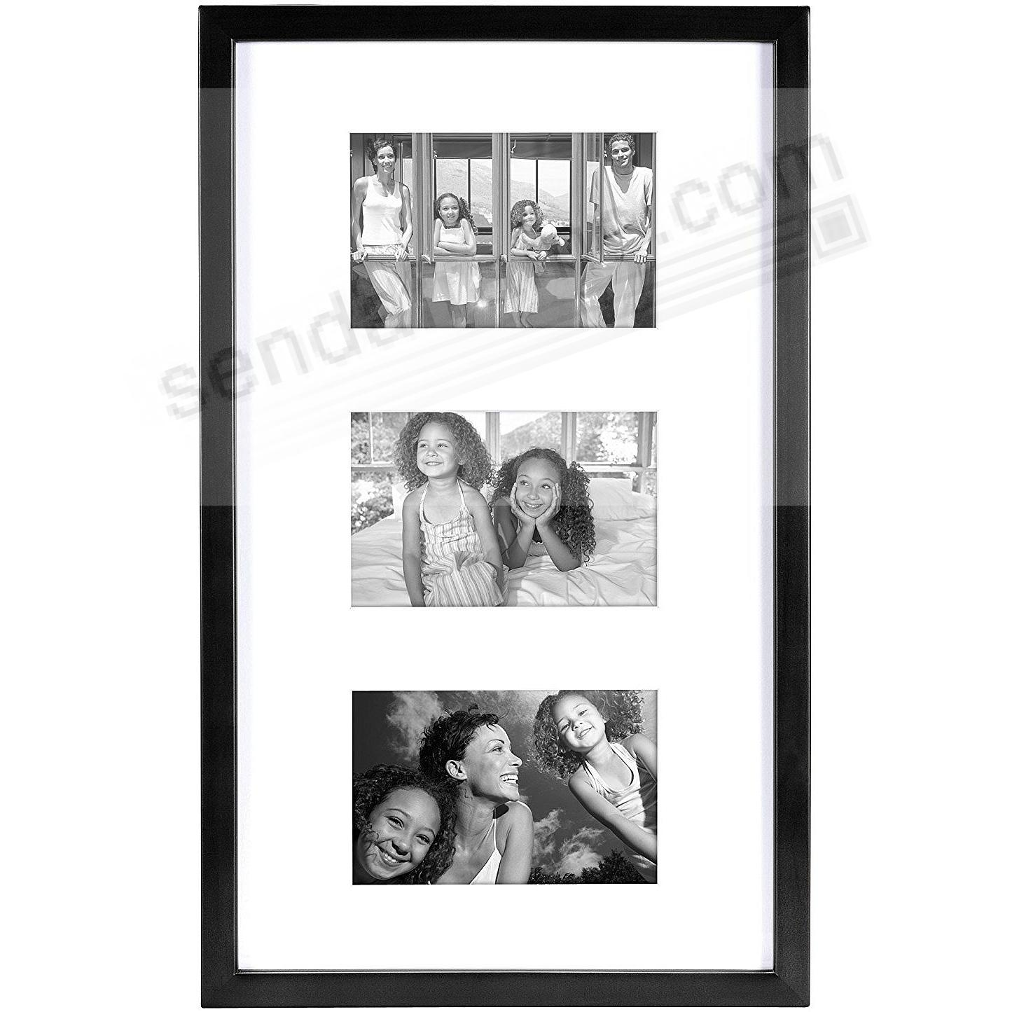 EAST VILLAGE Black Wood Triple 4x6/11x17 Wall Frame from MCS®
