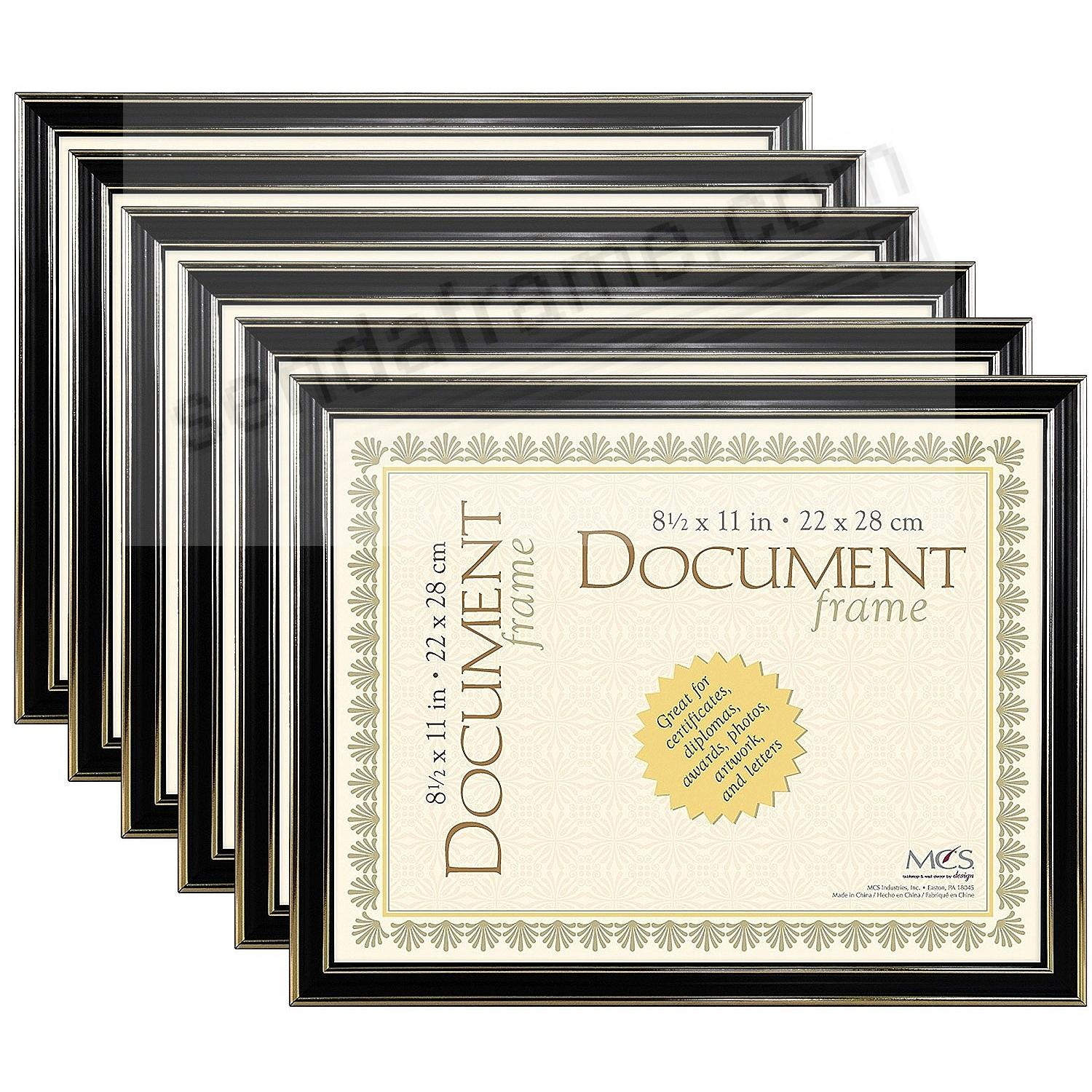 ECONOMY Document Black w/gold accent ABS acrylic frame by MCS® - Set of 6