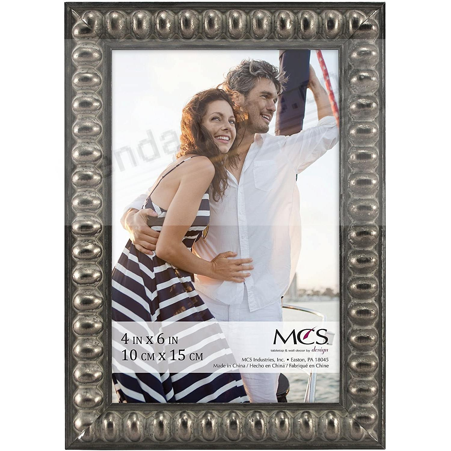 THIN BEAD Wood Pewter frame 4x6 by MCS®