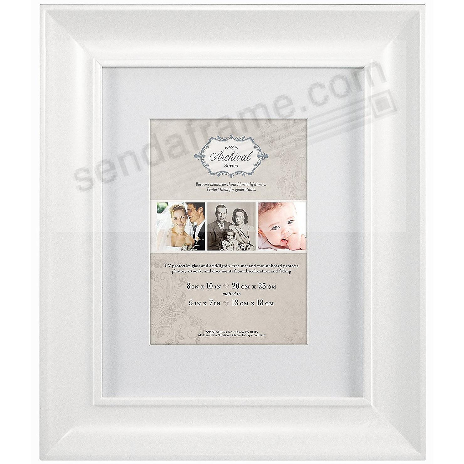 White ARCHIVAL Matted Wood frame 8x10/5x7 by MCS®