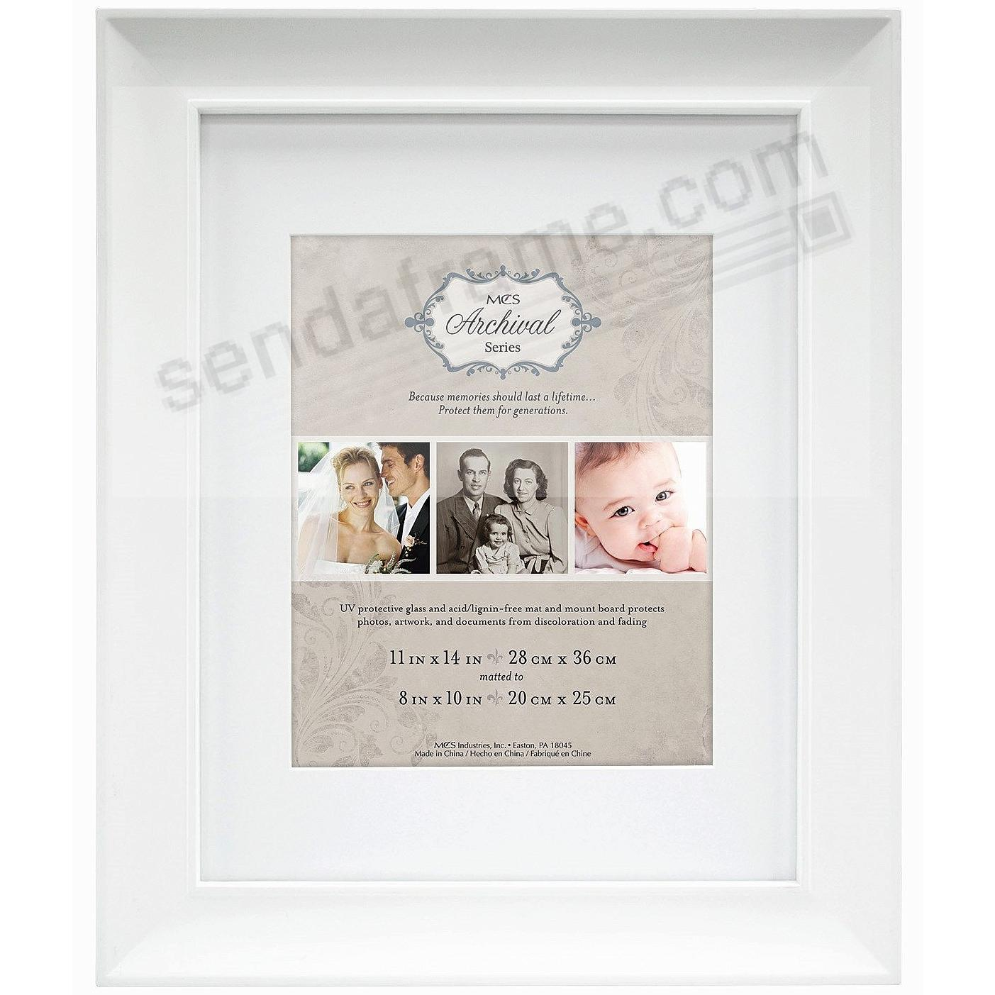 White ARCHIVAL Matted Wood frame 11x14/8x10 by MCS®