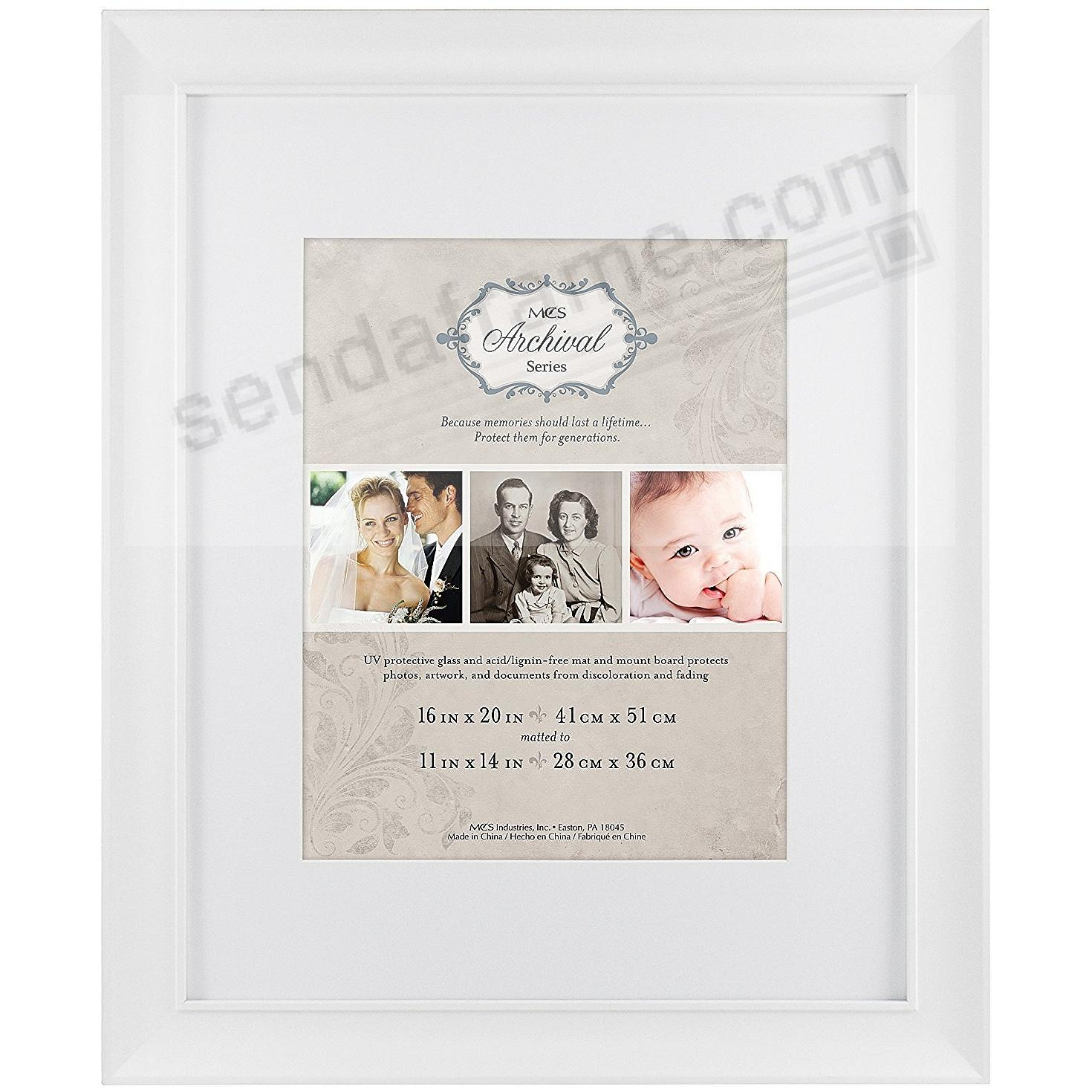 White ARCHIVAL Matted Wood frame 16x20/11x14 by MCS®