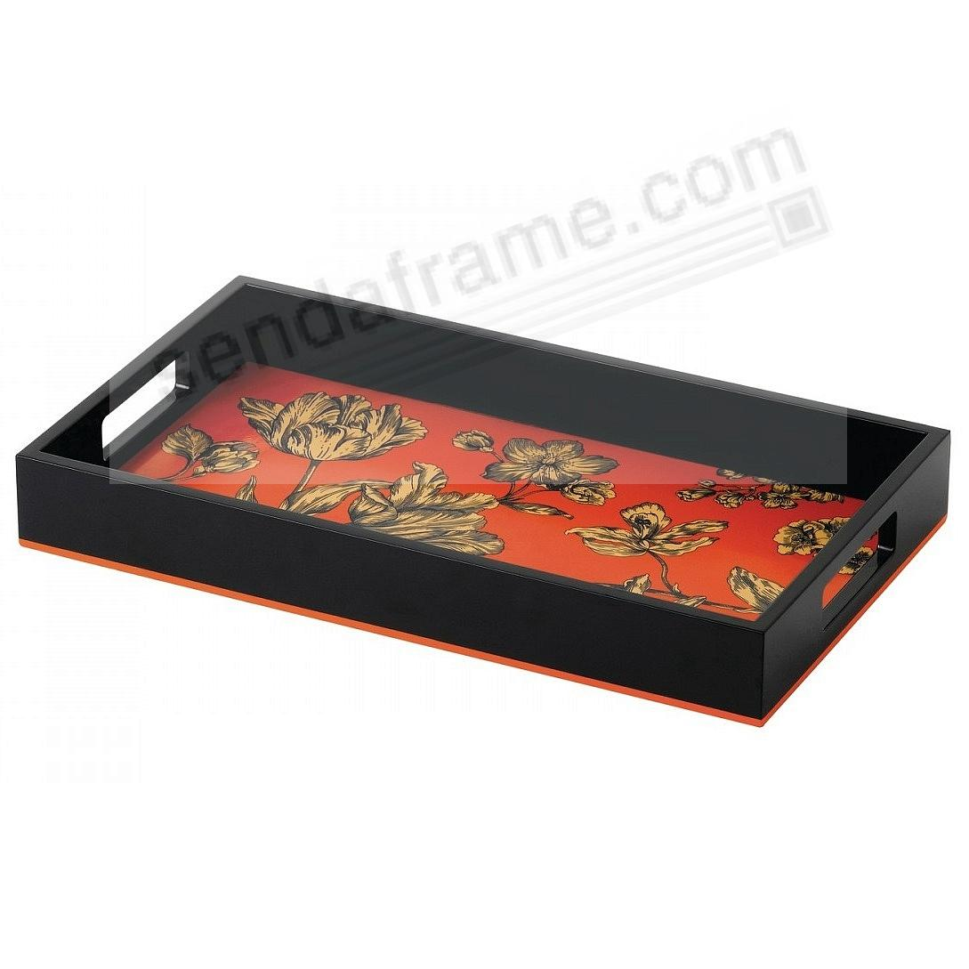 VIBRANCE FLORAL LACQUER SERVING TRAY BLACK/ORANGE by Wedgwood®