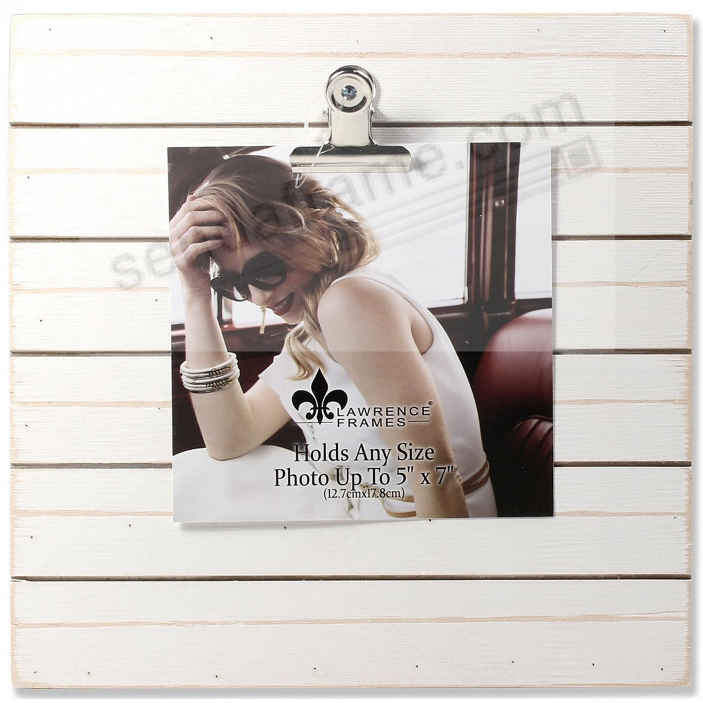 9x9 Weathered White Woodlands Clip Board Frame - Holds Up to 5x7 Photo by Lawrence®