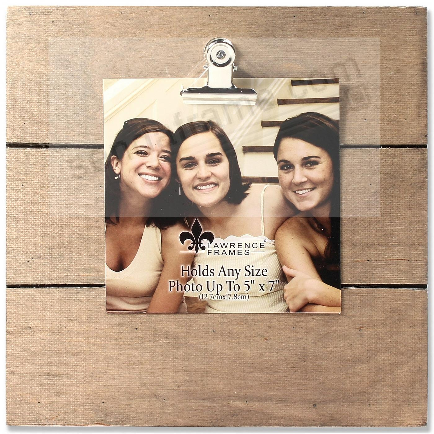 9x9 Weathered Natural Woodlands Clip-Board Frame - Holds Up to 5x7 Photo by Lawrence®