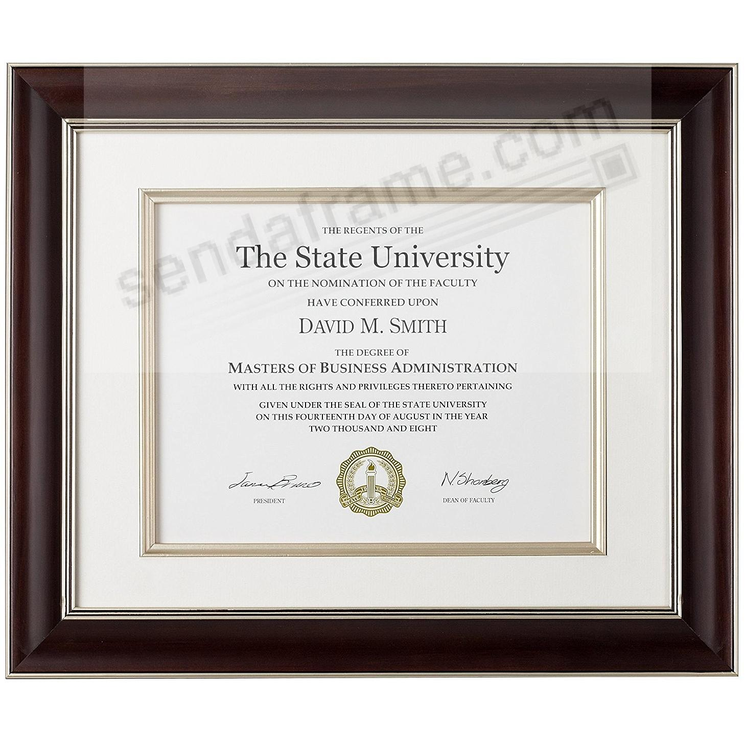 TUSCAN Walnut Wood Certificate frame Matted 15x12/11x8½ by ARTCARE®