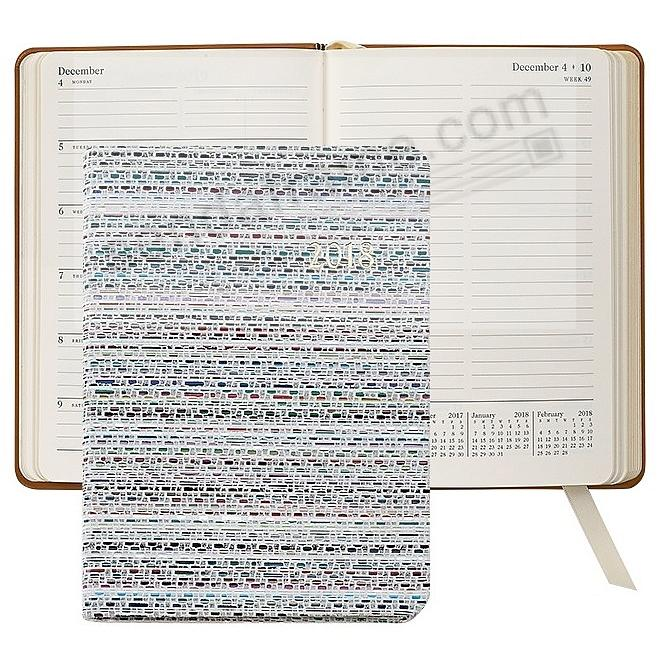 2018 Notebook Planner 7in HAVANA WHITE Fine Leather by Graphic Image™